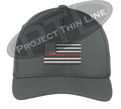 Dark Grey Embroidered Thin ORANGE Line American Flag Flex Fit Fitted Baseball Hat