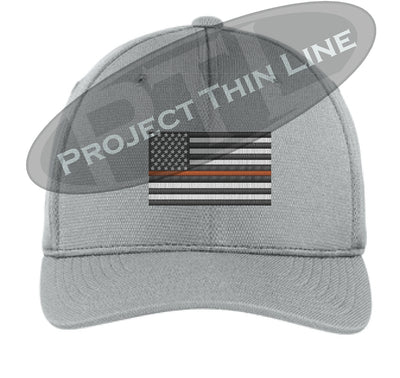 Light Grey Embroidered Thin ORANGE Line American Flag Flex Fit Fitted Baseball Hat