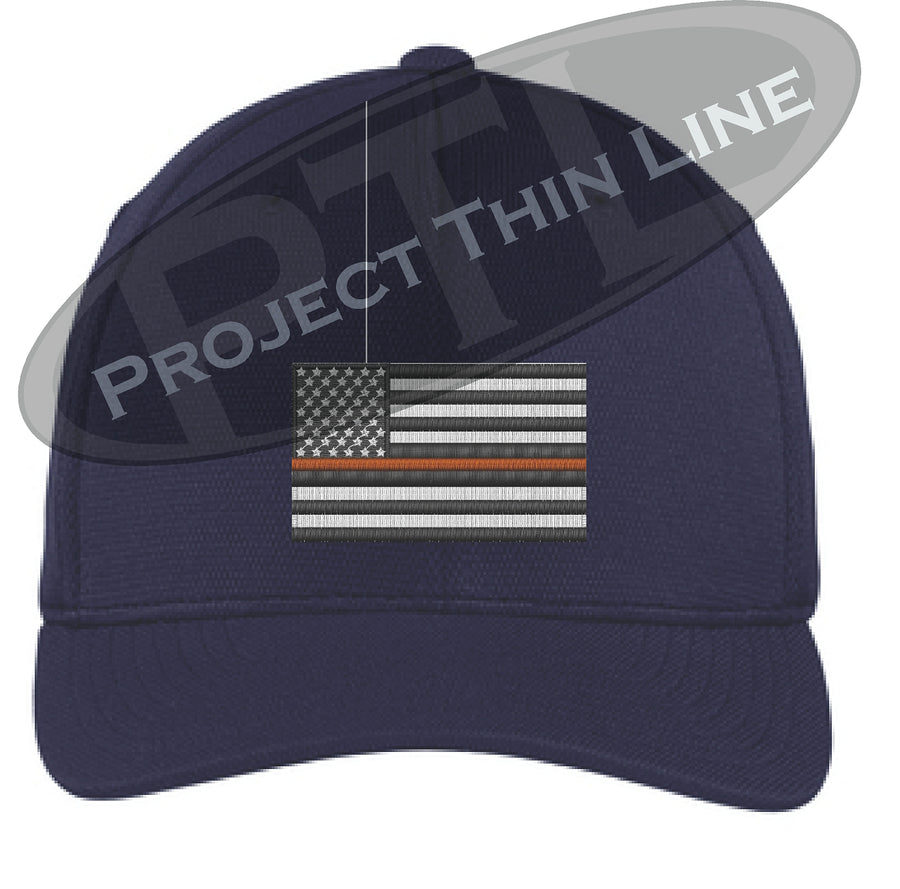 Black Embroidered Thin ORANGE Line American Flag Flex Fit Fitted Baseball Hat