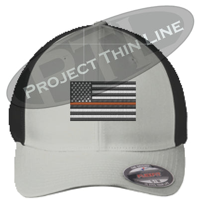 Silver / Black Embroidered Thin ORANGE Line American Flag Flex Fit Fitted Baseball Hat
