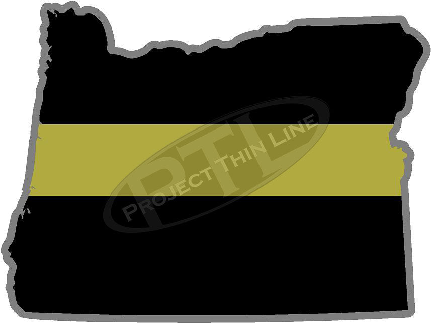 "5"" Oregon OR Thin Gold Line State Sticker Decal"