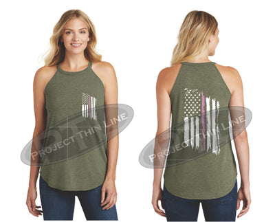 OD Green Tattered Thin PINK Line American Flag Rocker Tank Top