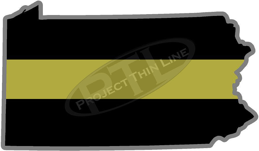 "5"" Pennsylvania PA Thin Gold Line State Sticker Decal"