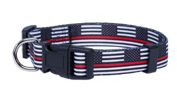 Thin Red Line American Flag K9 Firefighter Dog Collar