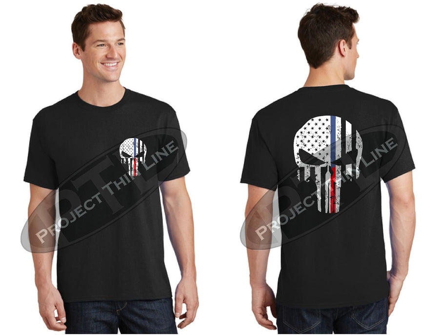 Thin BLUE / RED Line Punisher inlayed with Tattered American Flag Short Sleeve Shirt