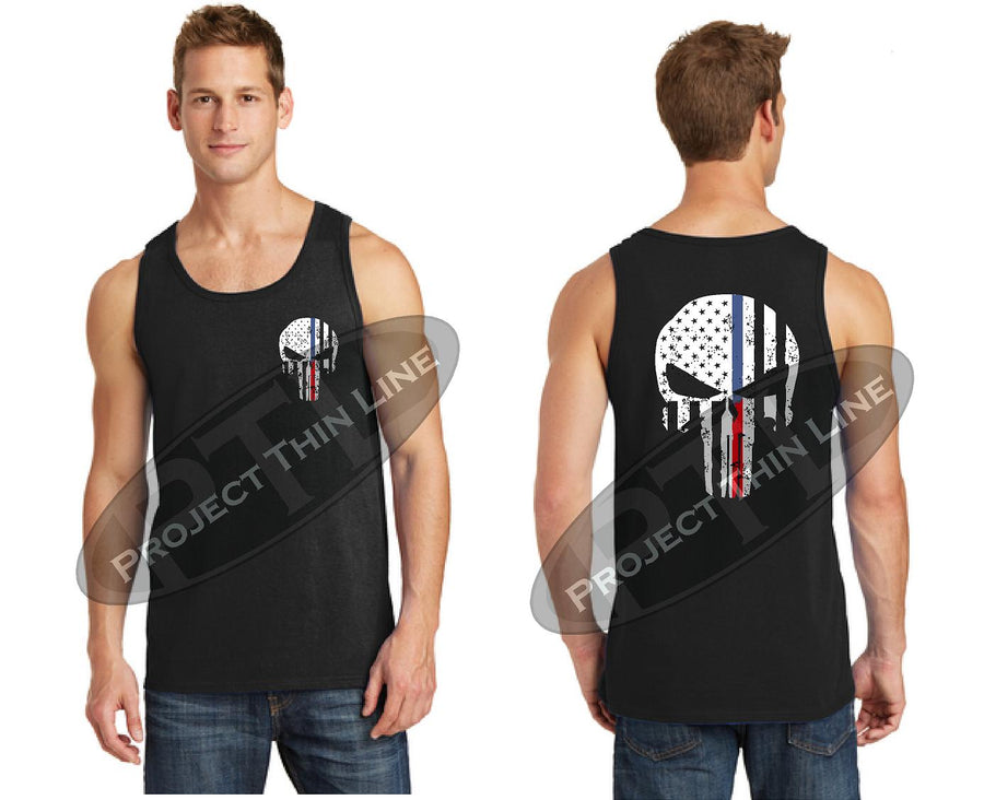 Black Thin BLUE / Red Line Tattered Punisher Skull inlayed with American Flag Tank Top