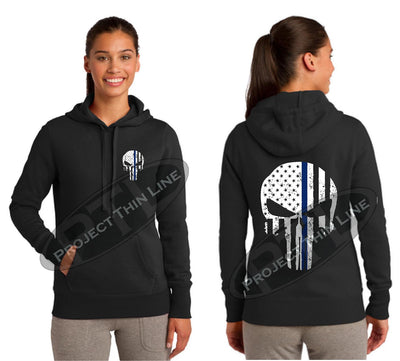 BLACK Hoodie with Thin Blue Line Punisher Skull inlayed Tattered American Flag