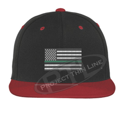 Black / Red Embroidered Thin GREEN American Flag Flat Bill Snapback Cap