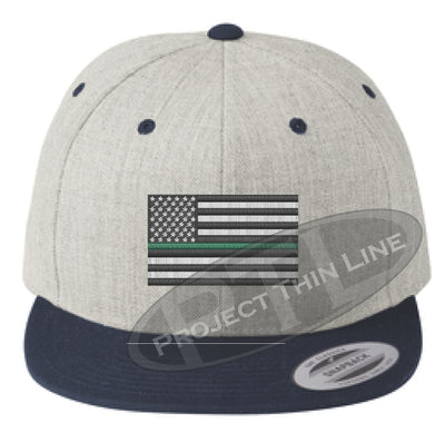 Heather / Navy Embroidered Thin GREEN American Flag Flat Bill Snapback Cap