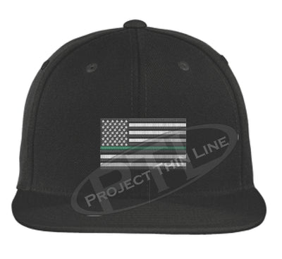 Black Embroidered Thin GREEN American Flag Flat Bill Snapback Cap