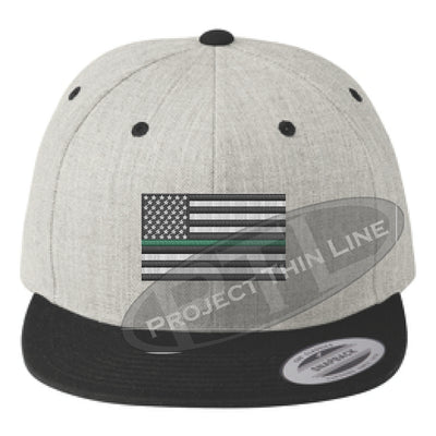 Heather / Black Embroidered Thin GREEN American Flag Flat Bill Snapback Cap