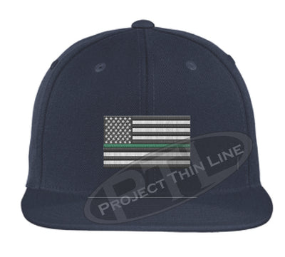 Navy Embroidered Thin GREEN American Flag Flat Bill Snapback Cap