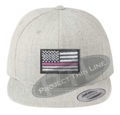 Heather Embroidered Thin Pink Line American Flag Flat Bill Snapback Cap