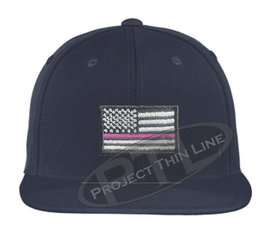 Embroidered Thin Pink Line American Flag Flat Bill Snapback Cap