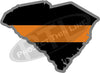 "5"" South Carolina SC Thin Orange Line Black State Shape Sticker"