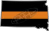 "5"" South Dakota SD Thin Orange Line Black State Shape Sticker"