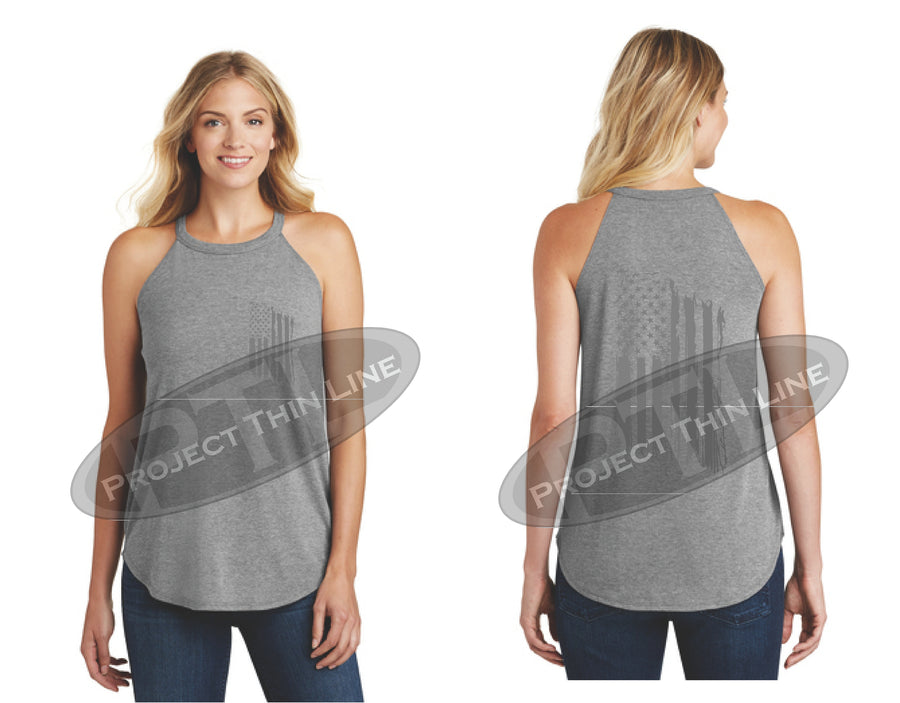 Black Tattered Tactical - Subdued American Flag Rocker Tank Top