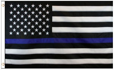 3' x 5' Poly USA Thin Blue Line American Flag