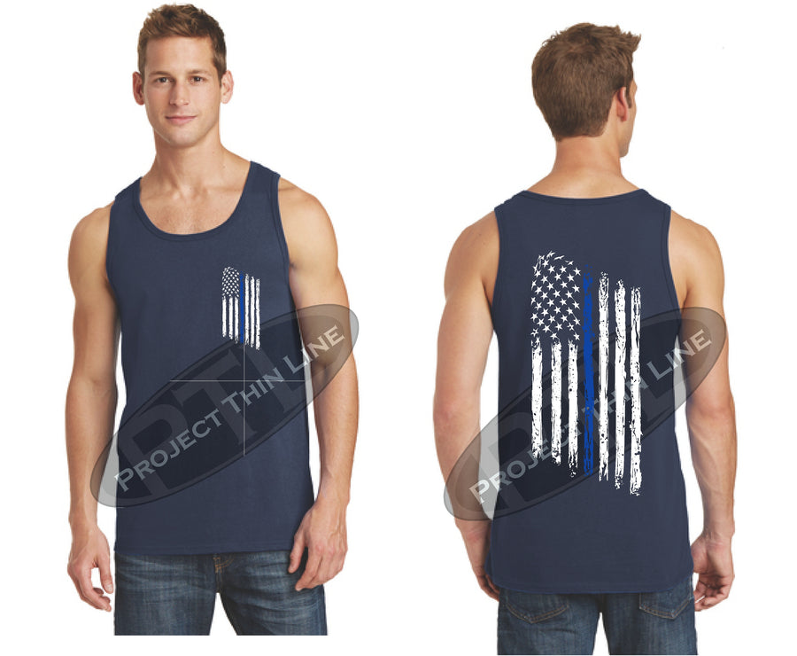 Thin BLUE Line Tattered American Flag Tank Top