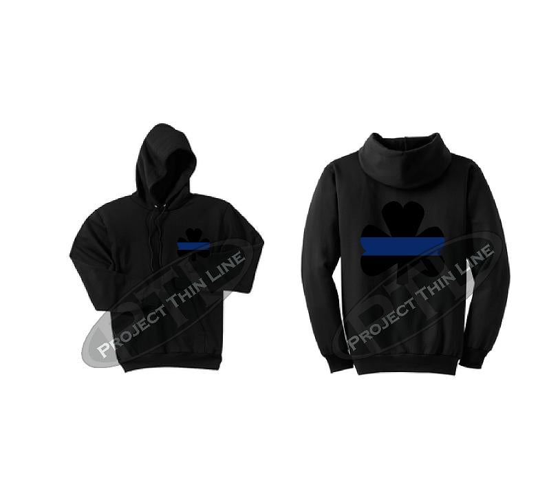 Black Ladies Thin BLUE Line Shamrock Clover Hooded Sweatshirt