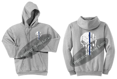 Ash Grey Hoodie BLACK Hoodie with Thin Blue Line Punisher Skull inlayed Tattered American Flag