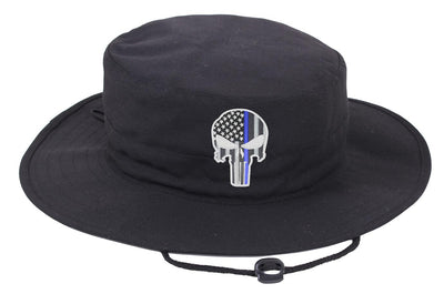 Black Boonie Hat with a Subdued Thin Blue Line Punisher