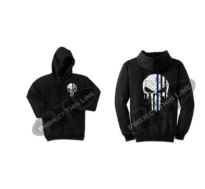 Black Thin BLUE Line Punisher Skull inlayed with the Tattered American Flag Hooded Sweatshirt