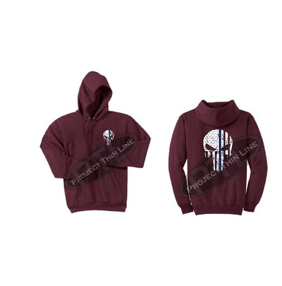 Maroon Thin BLUE Line Punisher Skull inlayed with the Tattered American Flag Hooded Sweatshirt