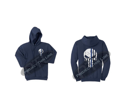 Navy Hoodie BLACK Hoodie with Thin Blue Line Punisher Skull inlayed Tattered American Flag