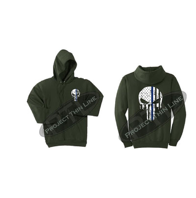 Olive Green Thin BLUE Line Punisher Skull inlayed with the Tattered American Flag Hooded Sweatshirt