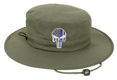 Olive Green Boonie Hat with a Subdued Thin Blue Line Punisher