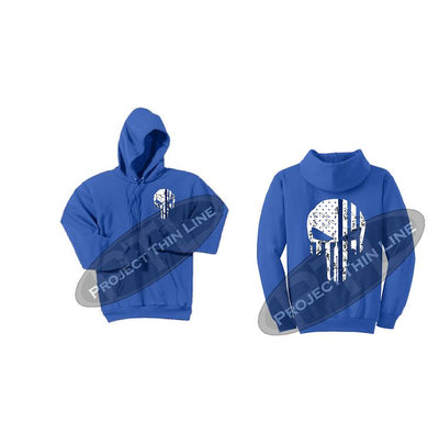 Royal Blue Thin BLUE Line Punisher Skull inlayed with the Tattered American Flag Hooded Sweatshirt