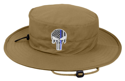 Tan Boonie Hat with a Subdued Thin Blue Line Punisher
