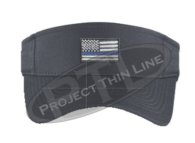 Grey Embroidered Thin Blue Line American Flag Visor