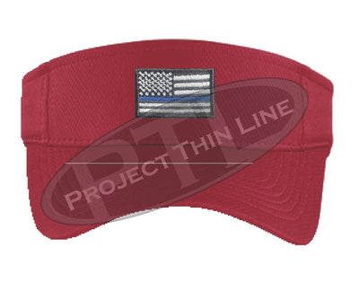 RED Embroidered Thin Blue Line American Flag Visor