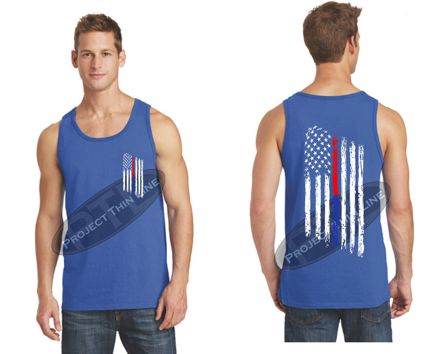 Black Thin BLUE / Red Line Tattered American Flag Tank Top