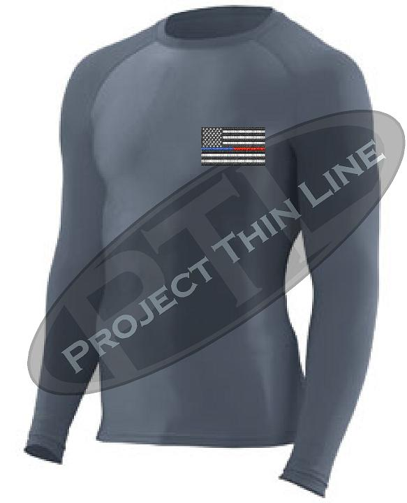 Black Embroidered Thin Blue / RED Line American Flag Long Sleeve Compression Shirt
