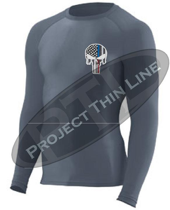 BLACK Embroidered Thin Blue / RED Line Punisher Skull inlayed American Flag Long Sleeve Compression Shirt
