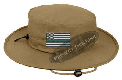Embroidered Thin GREEN Line American Flag Boonie Adjustable Hat