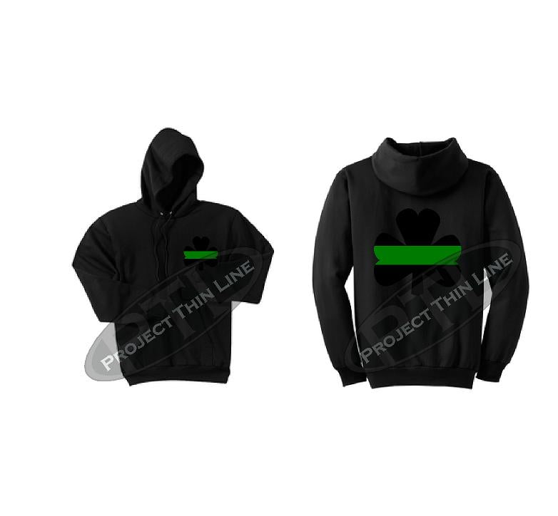 Charcoal Thin GREEN Line Shamrock Clover Hooded Sweatshirt