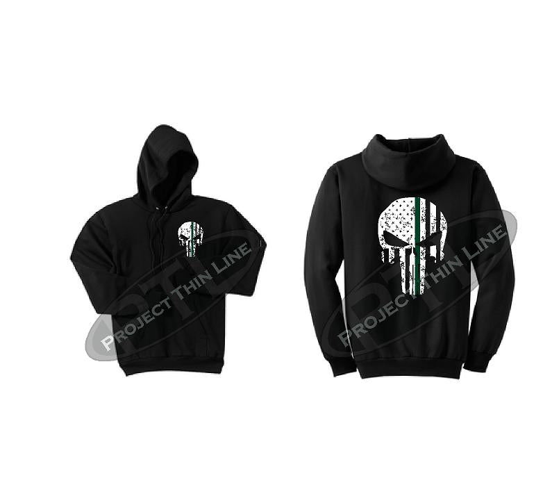 Black Thin GREEN Line Punisher Skull inlayed with the Tattered American Flag Hooded Sweatshirt