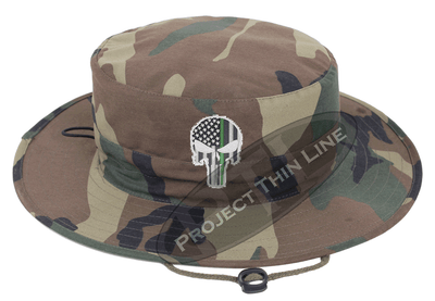 Camouflage Boonie Hat with embroidered Subdued Thin GREEN Line Punisher