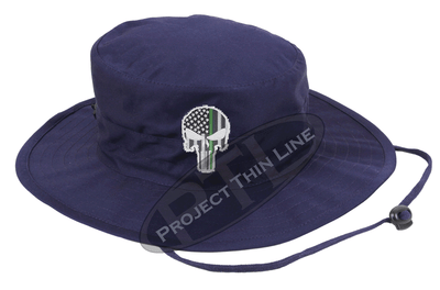 Navy Boonie Hat with embroidered Subdued Thin GREEN Line Punisher