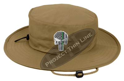 Tan Boonie Hat with embroidered Subdued Thin GREEN Line Punisher