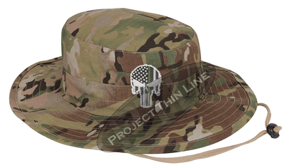 Jungle Camouflage Boonie Hat with embroidered Subdued Thin GREEN Line Punisher