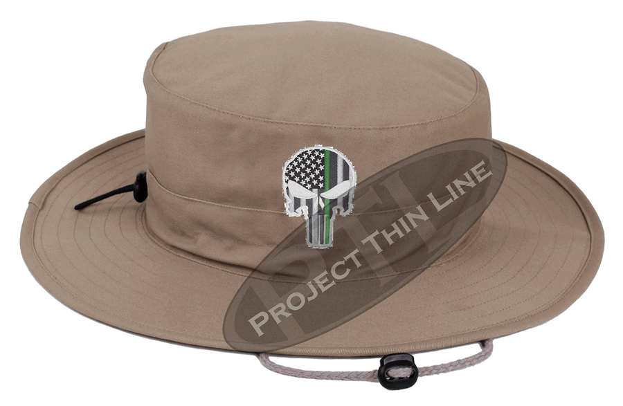 Desert Camouflage Boonie Hat with embroidered Subdued Thin GREEN Line Punisher