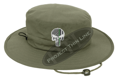 Olive Green Boonie Hat with embroidered Subdued Thin GREEN Line Punisher