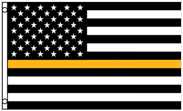 3' x 5' Poly USA Thin GOLD Line American Flag