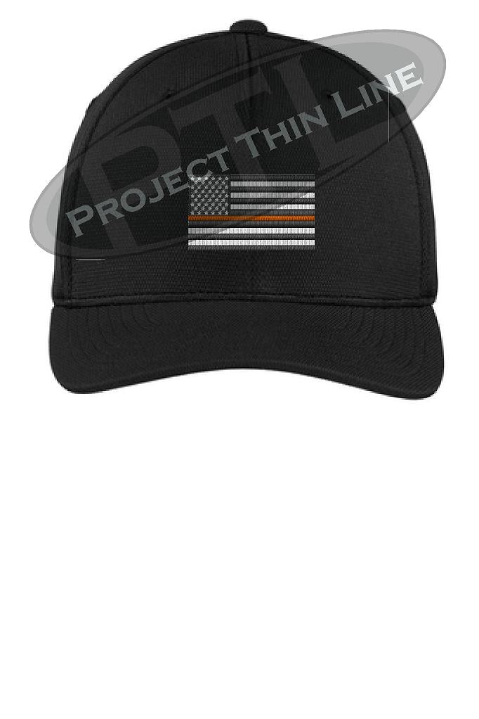 Black Embroidered Thin Orange Line American Flag Flex Fit Fitted Hat