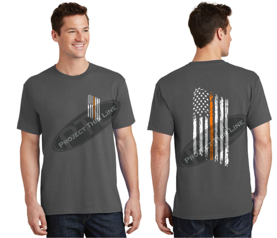 Black Thin ORANGE Line Tattered American Flag Short Sleeve Shirt